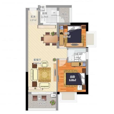 千禧嘉园2室2厅1卫1厨76.00㎡户型图