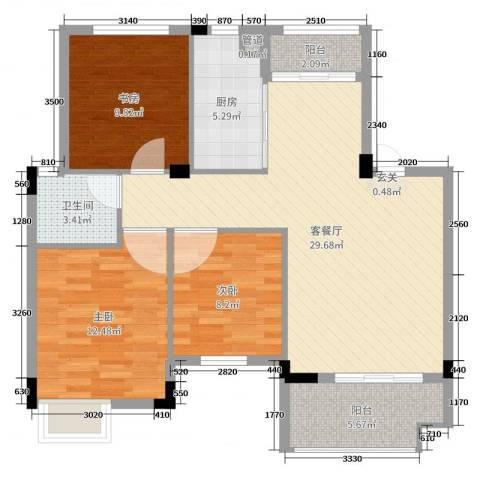 嘉业海棠湾3室2厅1卫1厨96.00㎡户型图