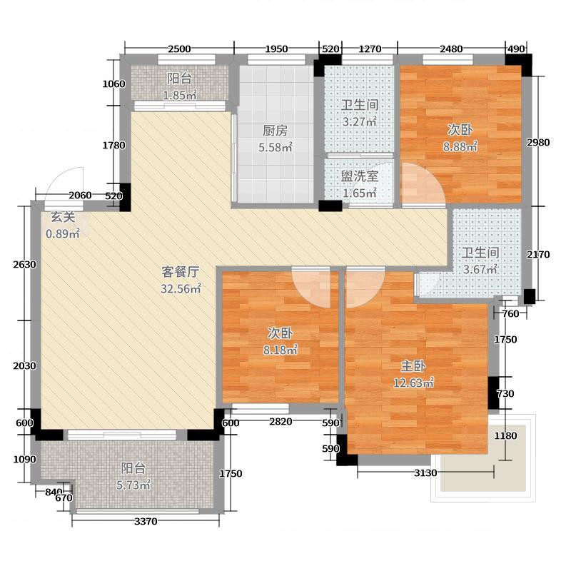 嘉业海棠湾105.00㎡二期洋房A1户型4室4厅2卫
