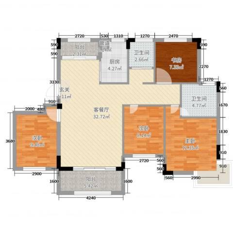 嘉业海棠湾4室2厅2卫1厨112.00㎡户型图