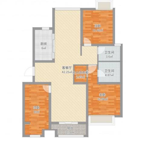 国鸿・香樟苑3室2厅2卫1厨99.91㎡户型图