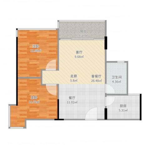 晶地可乐2室2厅1卫1厨88.00㎡户型图
