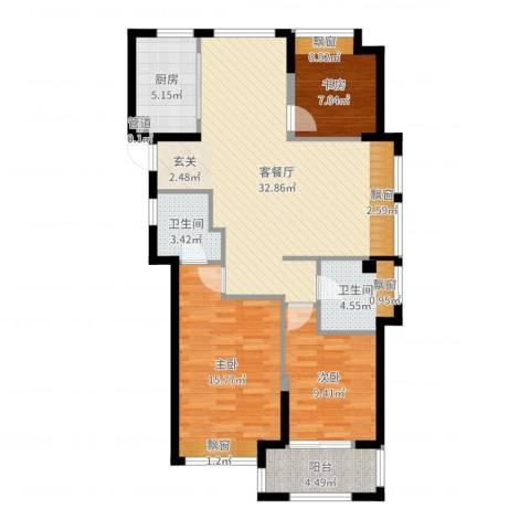 东海繁华里3室2厅2卫1厨103.00㎡户型图