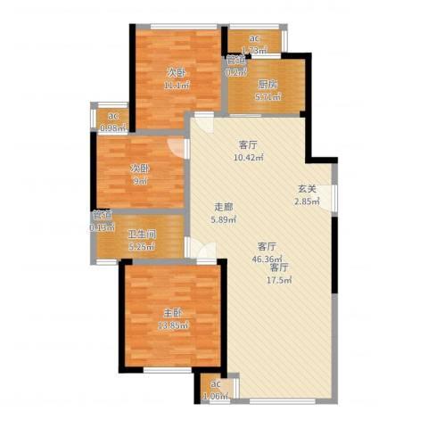 新城香溢俊园3室1厅1卫1厨119.00㎡户型图