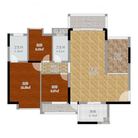 惠州半山名苑3室3厅2卫1厨137.00㎡户型图