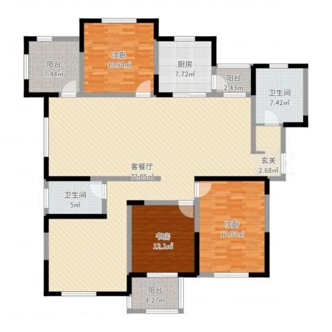 建业森林半岛3室2厅2卫1厨187.00㎡户型图