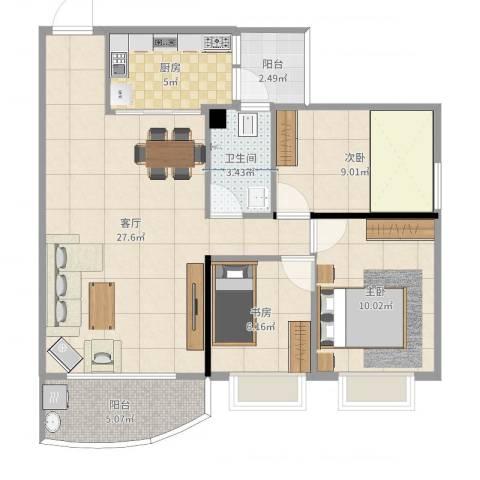 东华花园3室1厅1卫1厨86.00㎡户型图