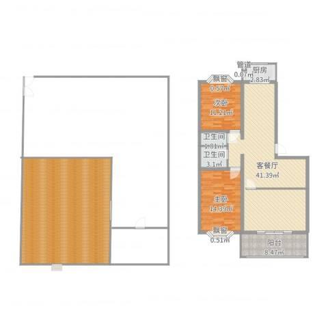 景苑花园2室2厅2卫1厨171.00㎡户型图