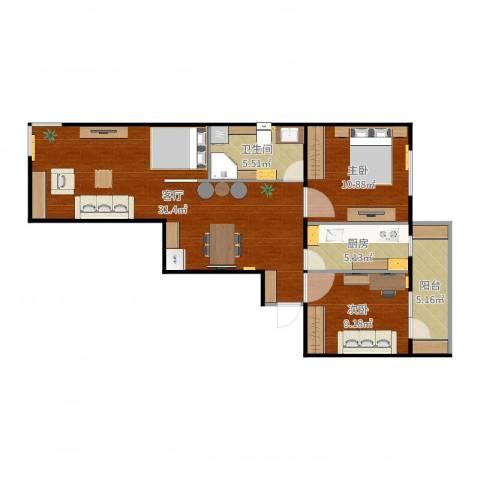 阜成路甲52号院2室1厅1卫1厨84.00㎡户型图
