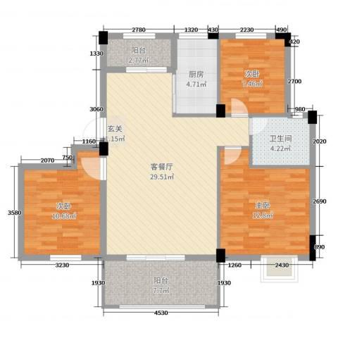 嘉业海棠湾3室2厅1卫1厨90.00㎡户型图
