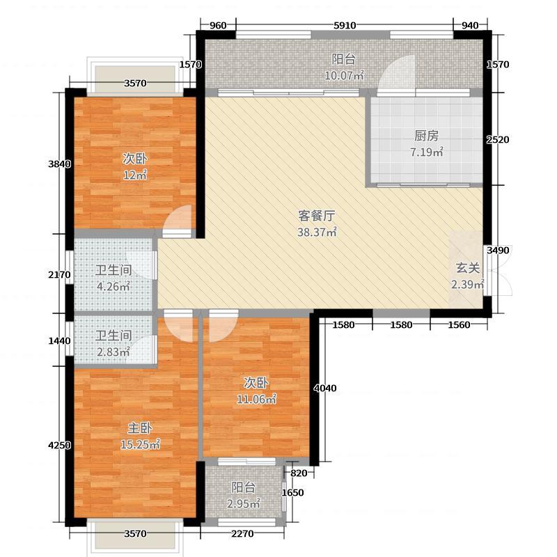 融信(平潭)大卫城130.00㎡2阳台户型3室3厅2卫1厨