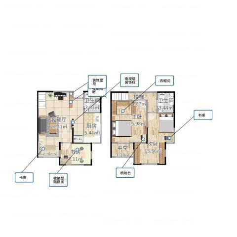 财信圣堤亚纳3室2厅2卫1厨108.00㎡户型图