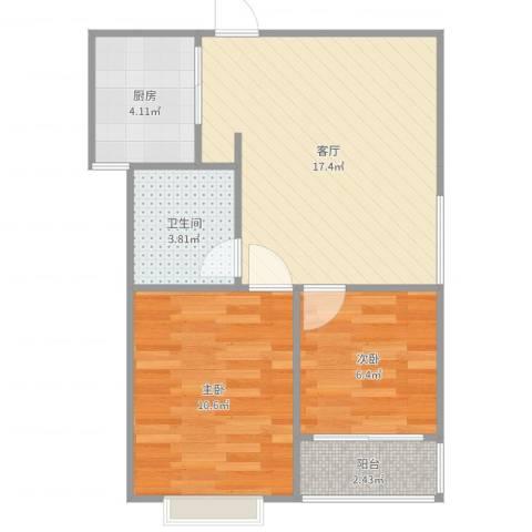 百家湖花园伦敦城2室1厅1卫1厨56.00㎡户型图