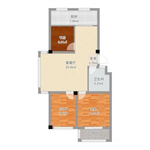 海阳海天景苑3室2厅1卫1厨93.00㎡户型图