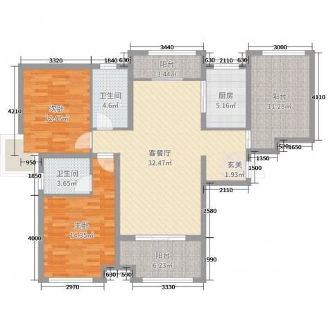 天地源・九悦香都2室2厅2卫1厨114.00㎡户型图