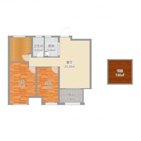 国贸仁皇3室1厅1卫1厨94.00㎡户型图