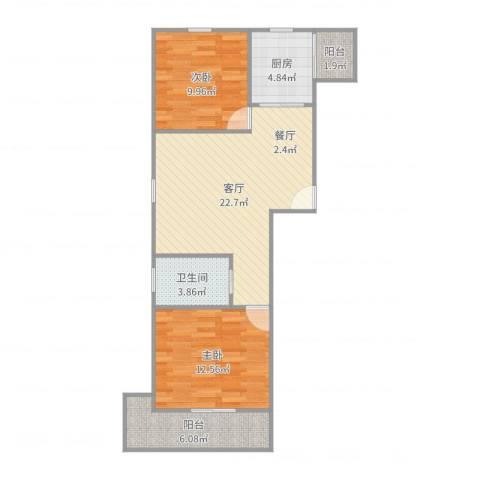 龙柏香榭苑商业2室1厅1卫1厨77.00㎡户型图