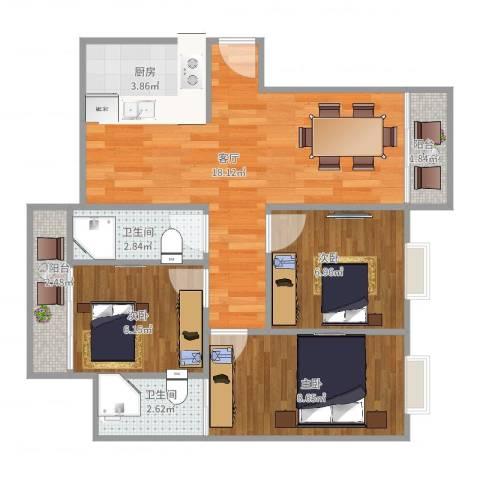 大信新都花园3室1厅2卫1厨74.00㎡户型图