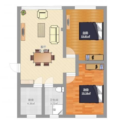 龙柏一村西郊公寓2室1厅1卫1厨75.00㎡户型图