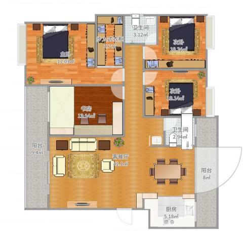 华夏山海城4室2厅2卫1厨158.00㎡户型图