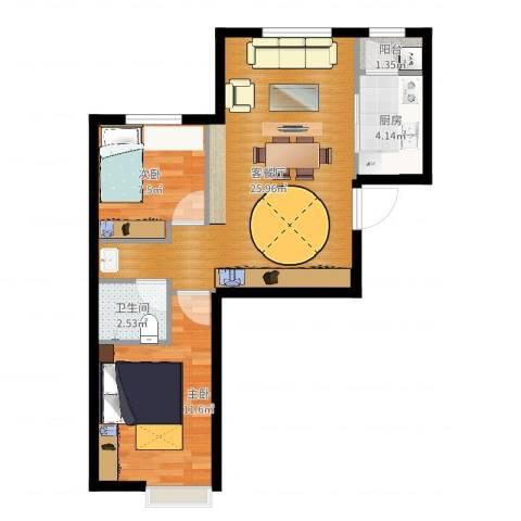 中加·博悦2室2厅1卫1厨66.00㎡户型图