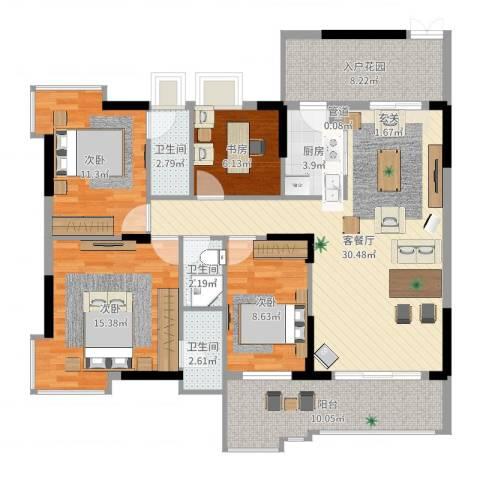 大唐盛世三期4室3厅4卫1厨127.00㎡户型图
