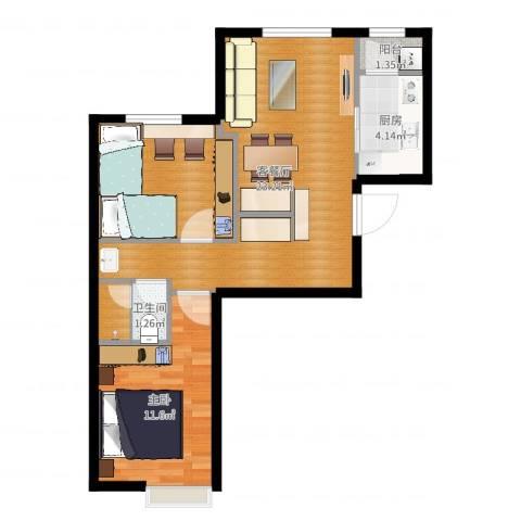 中加·博悦1室2厅1卫1厨66.00㎡户型图