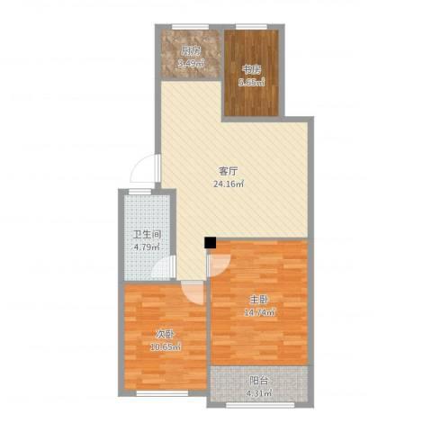 东发现代城山水园3室1厅1卫1厨85.00㎡户型图