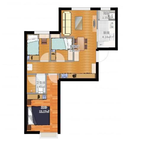 中加·博悦1室2厅1卫1厨65.00㎡户型图