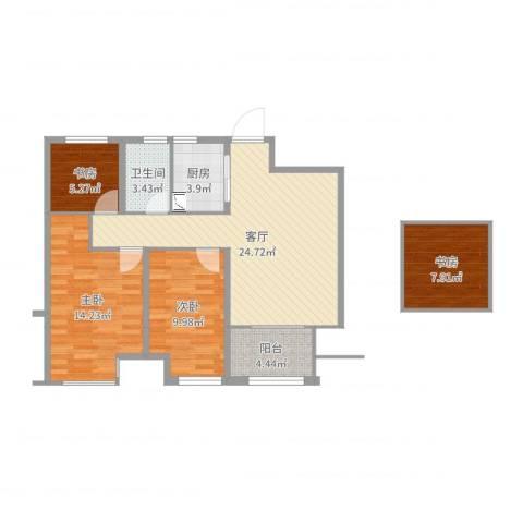 国贸仁皇4室1厅1卫1厨92.00㎡户型图