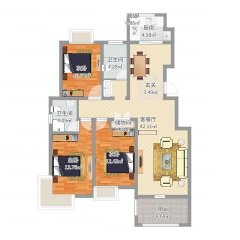 如意花园3室2厅2卫1厨99.38㎡户型图