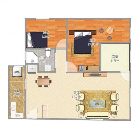 太子山庄3室1厅1卫1厨97.00㎡户型图