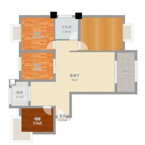 御景龙湾3室2厅1卫1厨117.00㎡户型图
