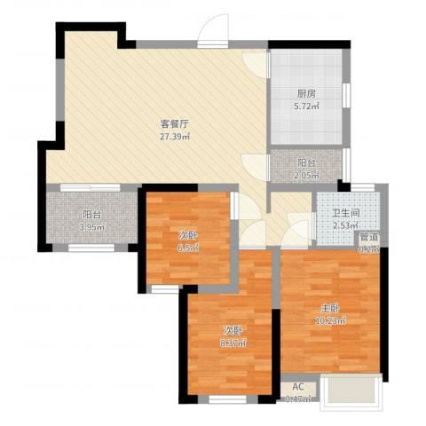 绿地香颂3室2厅1卫1厨84.00㎡户型图