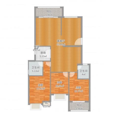 圣地亚哥3室2厅2卫1厨148.00㎡户型图