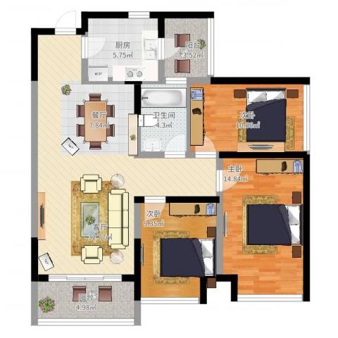 光谷新世界3室1厅1卫1厨124.00㎡户型图