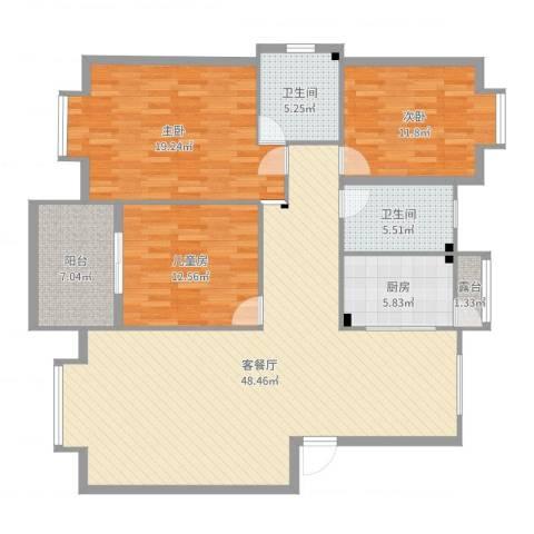 温哥华城・金水河畔3室2厅2卫1厨146.00㎡户型图