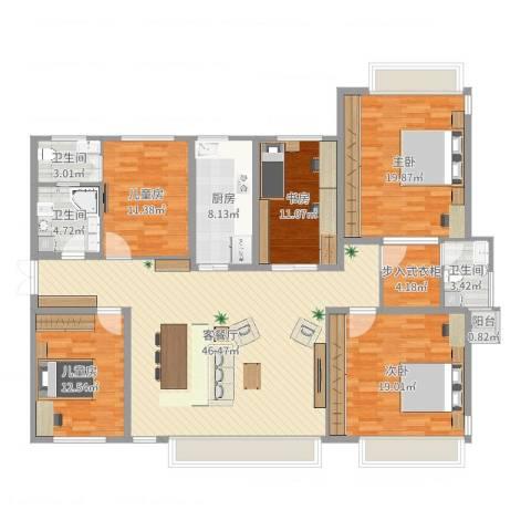 立雪佳苑5室2厅3卫1厨181.00㎡户型图