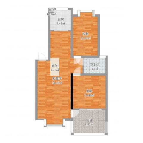 万润城市花园2室2厅1卫1厨89.00㎡户型图