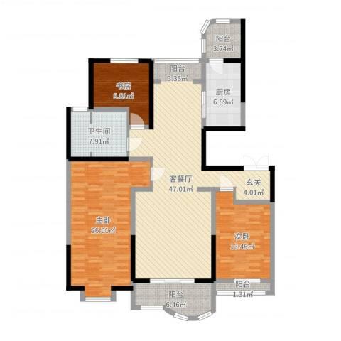 千禧御东画卷3室2厅1卫1厨121.61㎡户型图