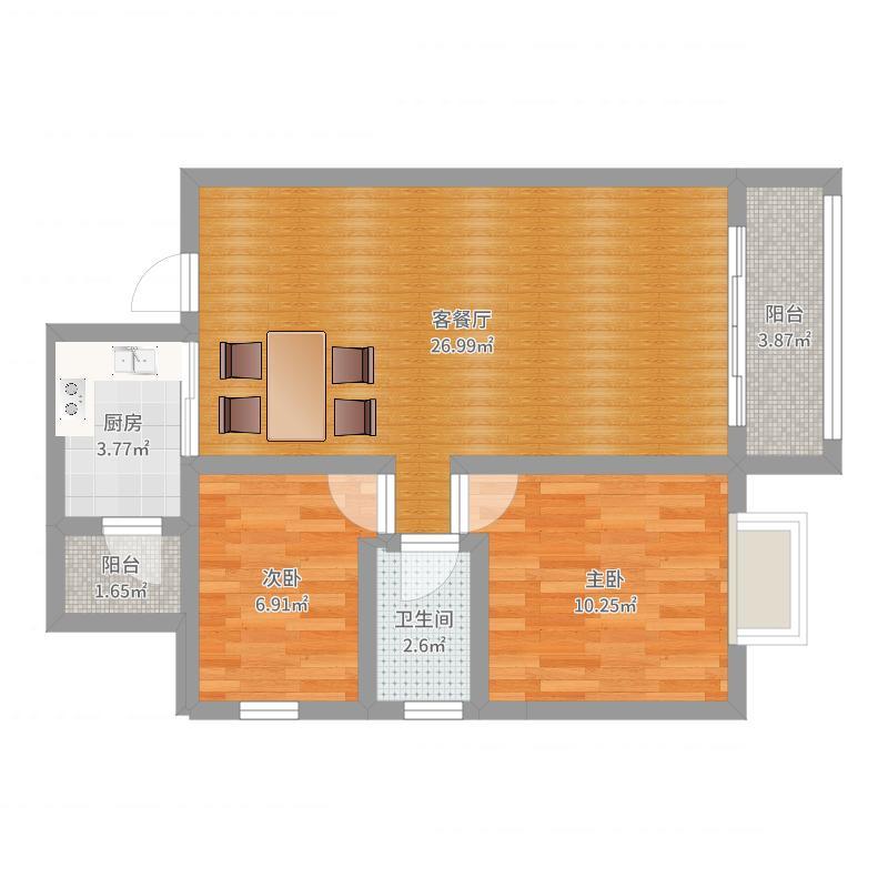 78平方二室二厅一卫