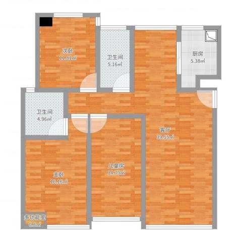 鸿益千秋3室1厅2卫1厨123.00㎡户型图