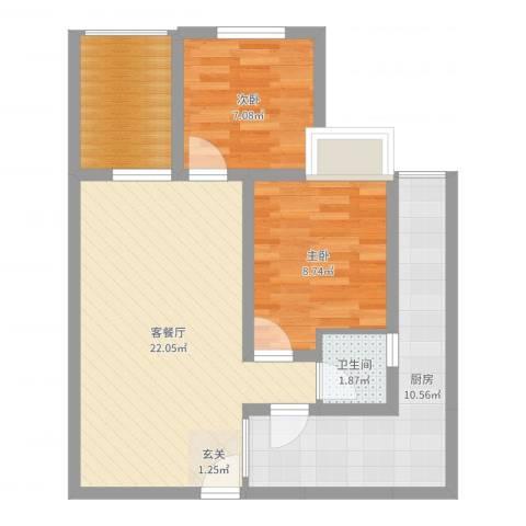 恒森・滨湖晓月2室2厅1卫1厨55.35㎡户型图