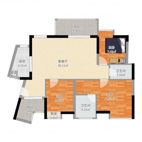 鸿泰八零3室2厅2卫1厨102.00㎡户型图