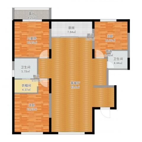 水木兰亭三期3室2厅2卫1厨174.00㎡户型图