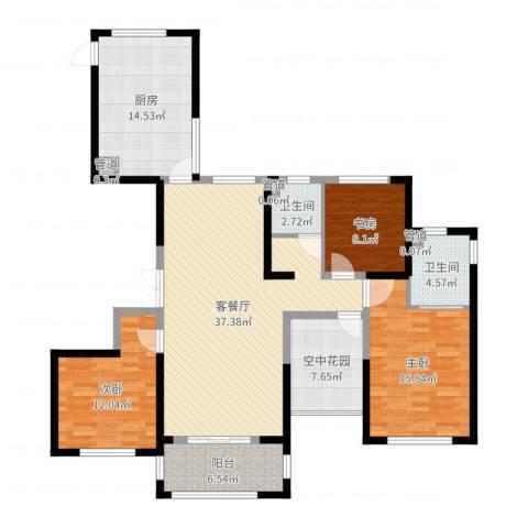 天慧紫辰阁3室2厅2卫1厨137.00㎡户型图