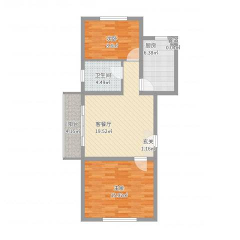 公元20992室2厅1卫1厨85.00㎡户型图