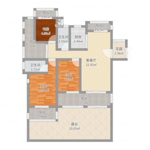 香江帝景3室2厅2卫1厨127.00㎡户型图