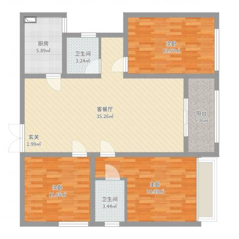 九阳花园3室2厅2卫1厨116.00㎡户型图