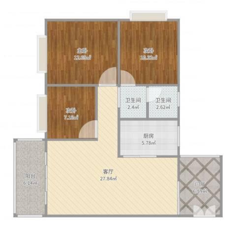 瑞丰新城7栋12023室1厅2卫1厨102.00㎡户型图